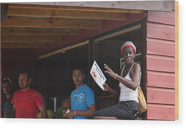 Wood Print featuring the photograph Roatan People by Gianni Bussu