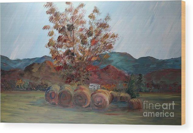 Autumn Wood Print featuring the painting Arkansas Autumn by Nadine Rippelmeyer