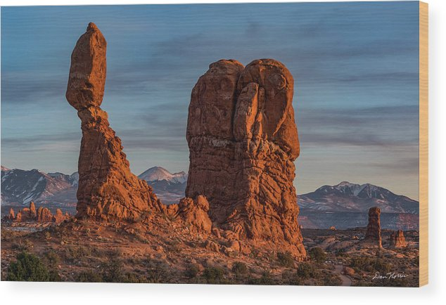 Arches National Park Wood Print featuring the photograph Balanced Rock Sunset by Dan Norris