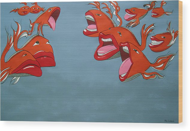 Seascape Wood Print featuring the painting Fish Fight by Patricia Van Lubeck