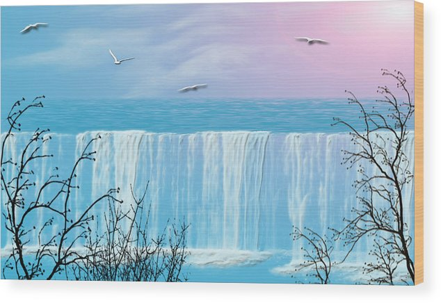 Waterfall Wood Print featuring the photograph Free Falling by Evelyn Patrick