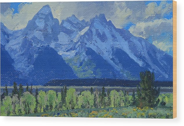 Landscape Wood Print featuring the painting Glacier Gulch by Lanny Grant