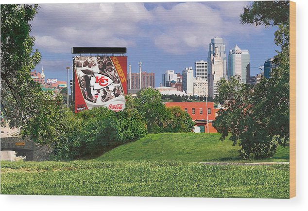 Landscape Wood Print featuring the photograph Kansas City Sky Line by Steve Karol