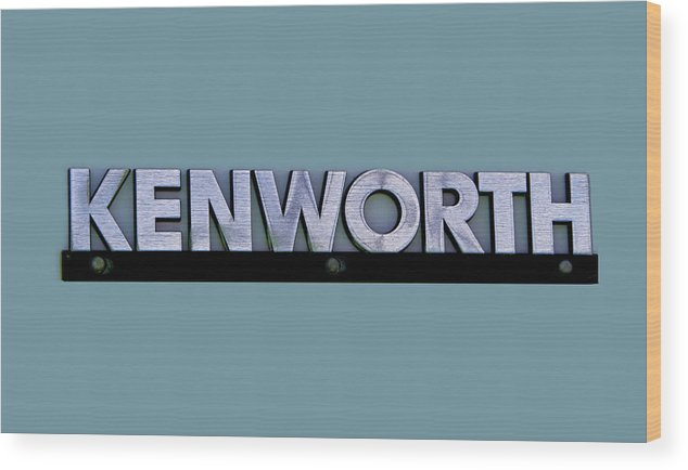 Kenworth Wood Print featuring the photograph Kenworth Semi Truck Logo by Nick Gray