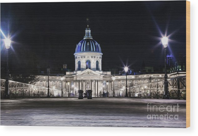 Paris Wood Print featuring the photograph Paris At Night 20 by Alex Art and Photo