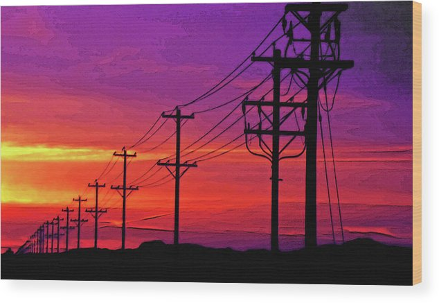 Power Poles And Lines Into Distance 1 Wood Print