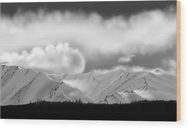 Landscape Mountains Clouds Snow Wood Print featuring the painting Snow In The Mountains by John Shioli