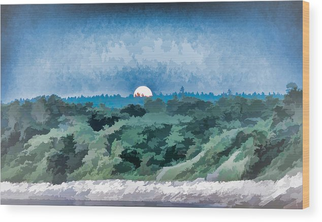 Black Brook Shop Wood Print featuring the photograph Supermoon Rising - Painted Effect by Black Brook Photography