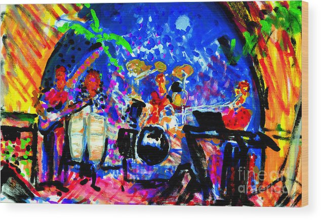 Target Band Painting Wood Print featuring the painting Target At The Palm Club by Candace Lovely