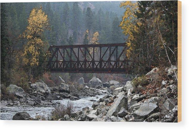 Bridge Wood Print featuring the painting Wenatchee Bridge Digital Painting by Mary Gaines