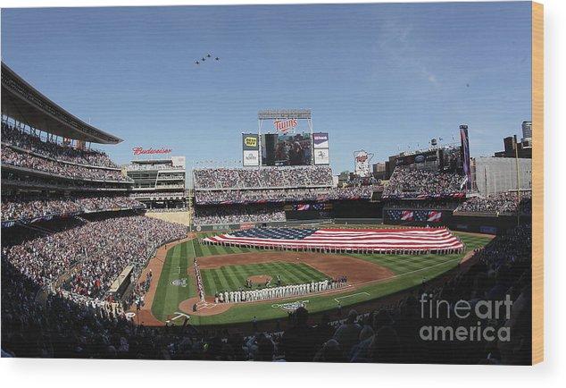 American League Baseball Wood Print featuring the photograph Oakland Athletics V Minnesota Twins by Elsa