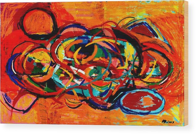 Abstract Wood Print featuring the painting Untitled 2 by Paul Freidin