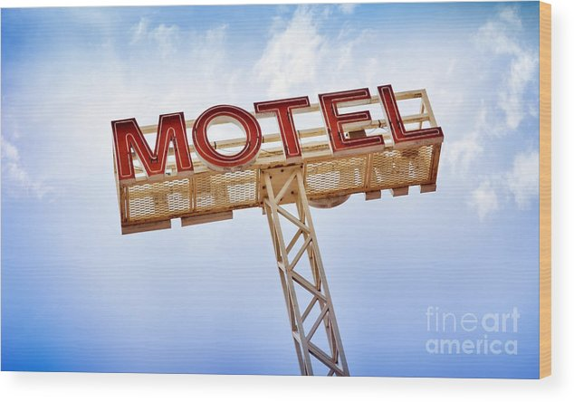 Abandoned Wood Print featuring the photograph Motel Sign by Tim Hester