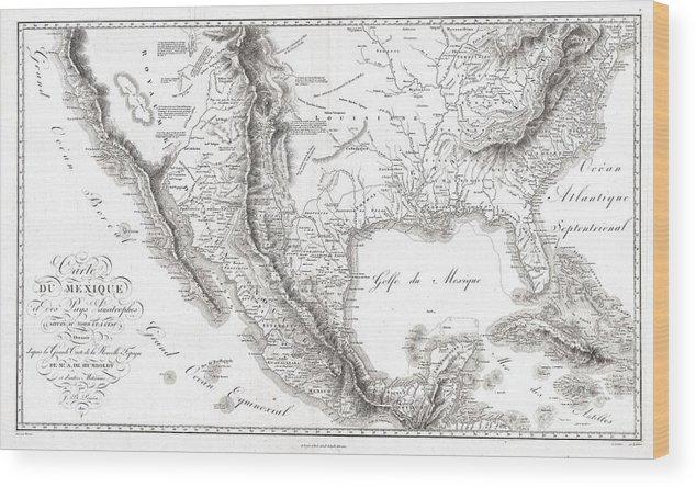 Map Of Texas Louisiana.1811 Humboldt Map Of Mexico Texas Louisiana And Florida Wood Print