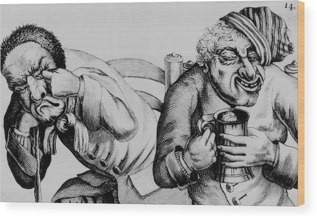 Alcoholism Wood Print featuring the photograph 18th Century Engraving Of Alcoholics by National Library Of Medicine/science Photo Library