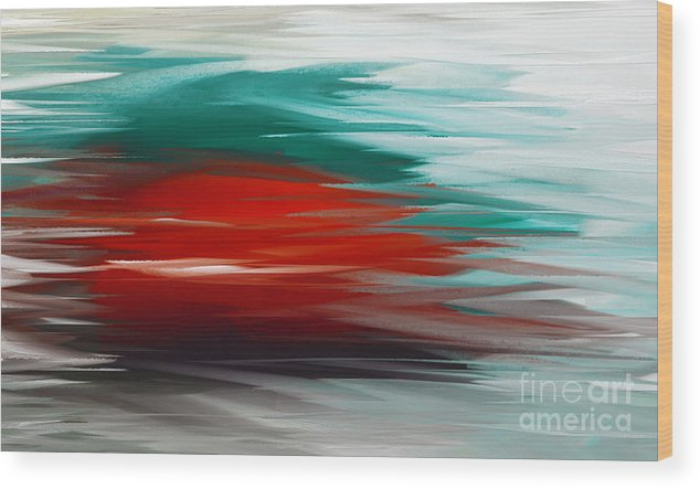 Abstract Wood Print featuring the digital art A Frozen Sunset Abstract by Andee Design