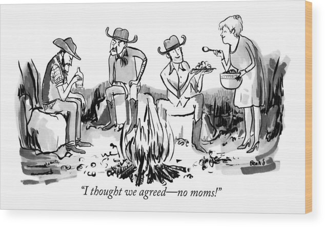 Cowboys Wood Print featuring the drawing A Group Of Cowboys Are Sitting Around A Campfire by Kate Beaton