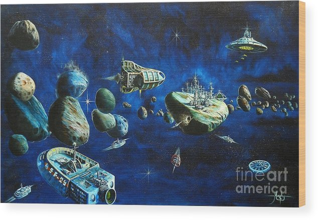 Fantasy Wood Print featuring the painting Asteroid City by Murphy Elliott