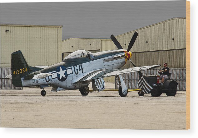 P-51 Wood Print featuring the photograph Back Into The Hangar by Chris Sarenana