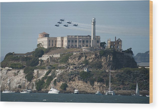 Navy Wood Print featuring the photograph Blue Angels Over Alcatraz by Mountain Dreams