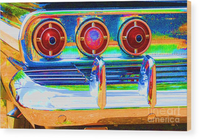 Automoble Wood Print featuring the photograph Chevy Tailights 1958 by Robert Kleppin
