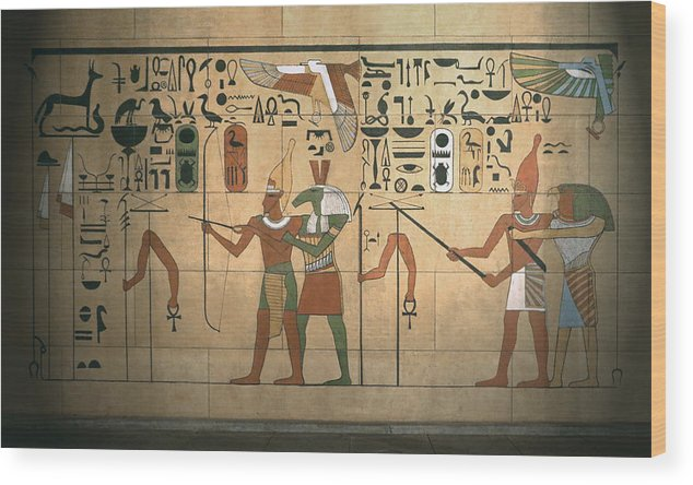 Hieroglyphics Wood Print featuring the photograph Egyptian Wall by Bill Jonas