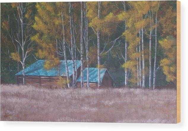 Landscape Wood Print featuring the painting Fall On The Ranch by Gene Ritchhart