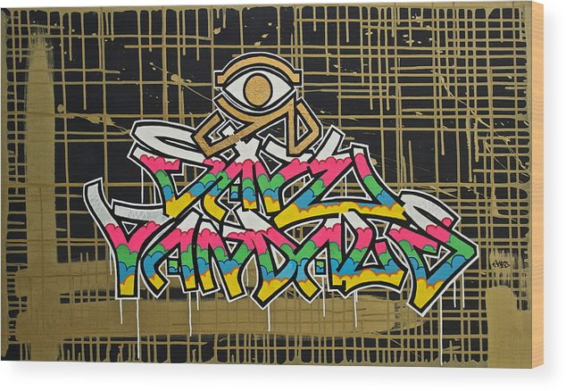 Graffiti Wood Print featuring the painting God Save Vandals by Harsen Art