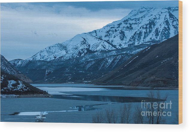 Mount Timpanogos Wood Print featuring the photograph Mount Timpanogos Winter Evening by Gary Whitton