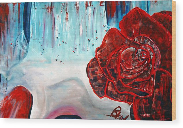 Landscape Wood Print featuring the painting Op And Rose by Peggy Blood