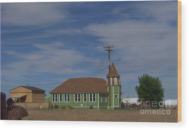 Shaniko Wood Print featuring the photograph Shaniko School - 1901 To 1946 by Charles Robinson