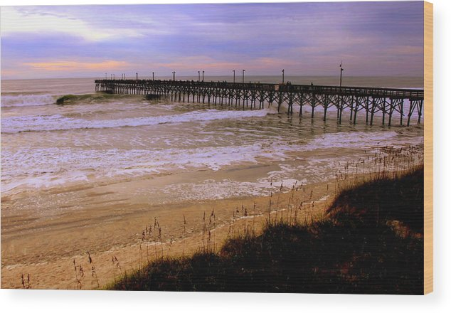 Topsail Island Wood Print featuring the photograph Surf City Pier by Karen Wiles