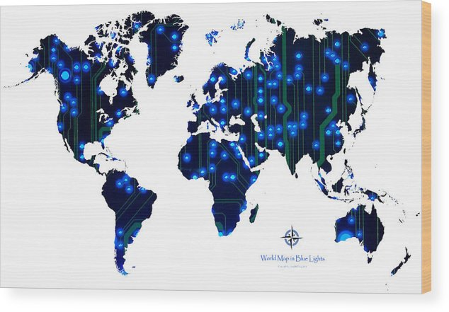 World Wood Print featuring the digital art World Map In Blue Lights by Jerry McElroy