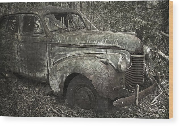 Rustbuckets Wood Print featuring the photograph Camouflage Classic Car by John Stephens