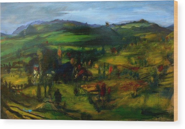 Farm Wood Print featuring the painting Farm Country by Scott Cumming