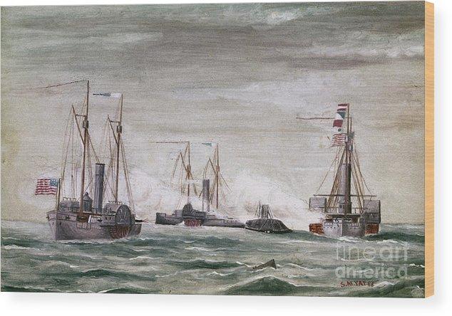 1864 Wood Print featuring the photograph Civil War: Naval Battle by Granger