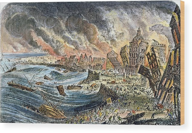 1755 Wood Print featuring the photograph Lisbon Earthquake, 1755 by Granger