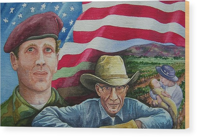 Soldier Wood Print featuring the painting We Hold These Truths by Gale Cochran-Smith