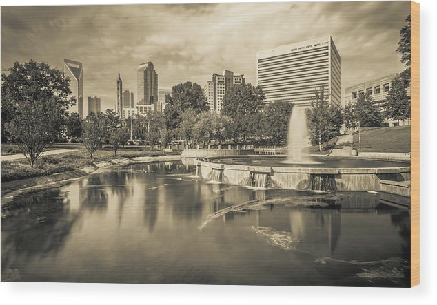 Park Wood Print featuring the photograph Charlotte North Carolina Cityscape During Autumn Season by Alex Grichenko