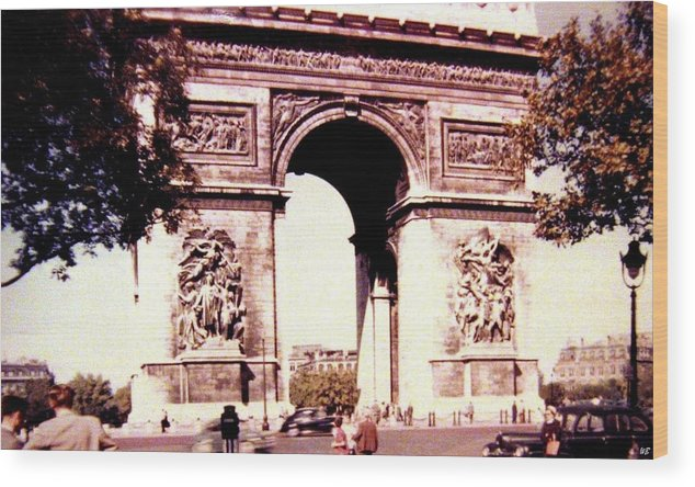 1955 Wood Print featuring the photograph Arc De Triomphe 1955 by Will Borden