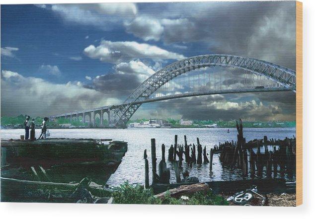 Seascape Wood Print featuring the photograph Bayonne Bridge by Steve Karol