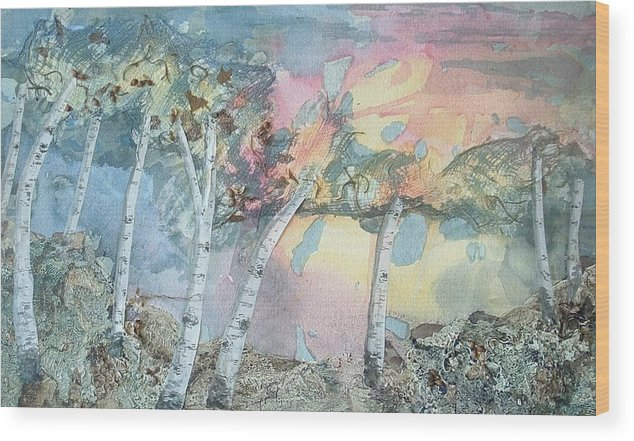 Collage Wood Print featuring the painting Birch Filigree by Lynn ACourt