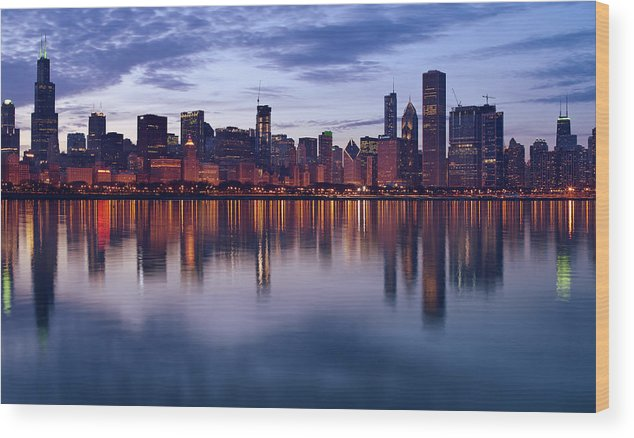 Chicago Wood Print featuring the photograph Chicago Skyline March 2009 by Donald Schwartz