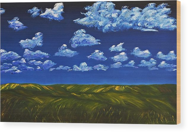 Kansas Wood Print featuring the painting Clouds And Grass Field by Gregory Allen Page