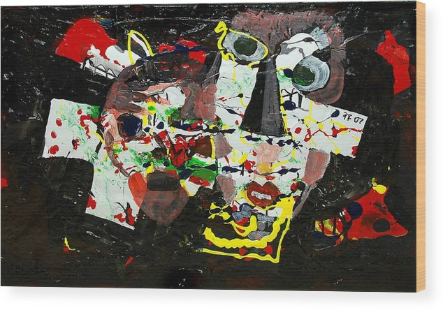 Abstract Wood Print featuring the painting Collage 2 by Paul Freidin