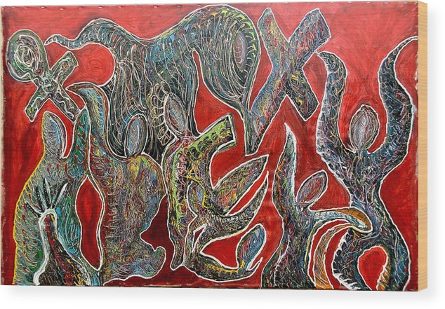 Jay Lonewolf Wood Print featuring the mixed media Crucible by Jay Lonewolf