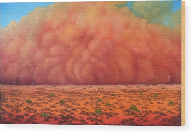 Wood Print featuring the painting Engulfing Winds by David O'Halloran