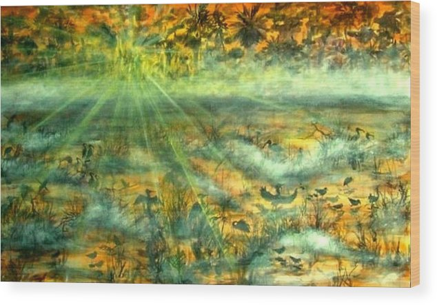 Mist Wood Print featuring the painting Everglades Morning Mist by Ana Bikic