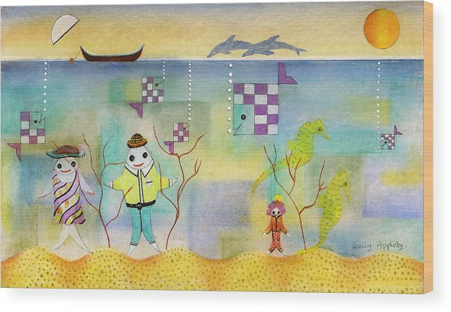 Fantasy Wood Print featuring the mixed media Fish Family by Sally Appleby
