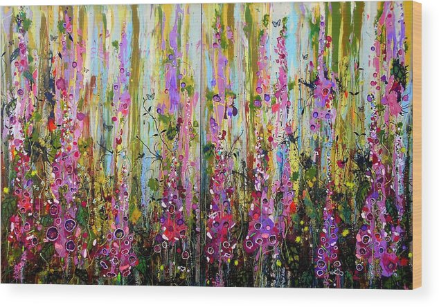 Foxgloves Wood Print featuring the painting Foxgloves Large Painting by Angie Wright